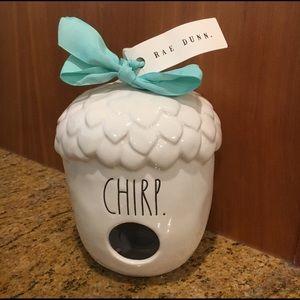 "NWT Rae Dunn Pottery Acorn ""CHIRP"" Birdhouse"